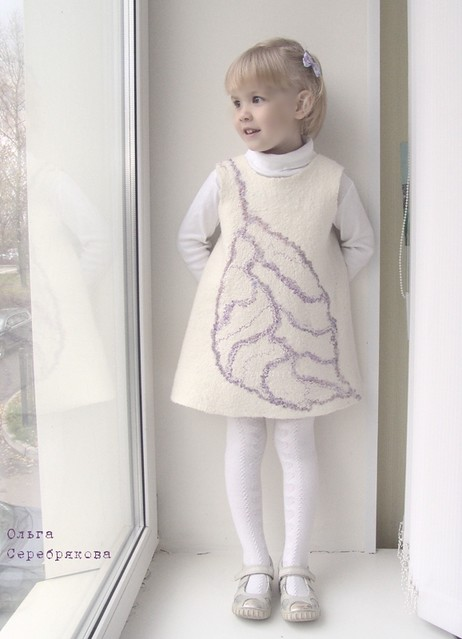 'Silver Leaf' felted dress 1