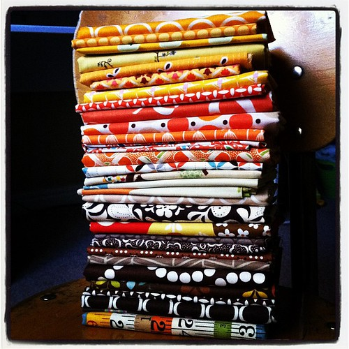 Pulled some fabrics for a fall pillow. #sewing