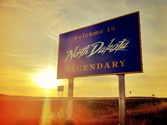 Welcome to LEGENDARY North Dakota (Brian DeFrees) Tags: sunset sign north legendary welcome dakota travelphoto