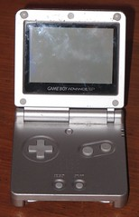 Gameboy Advanced SP in its old case - open