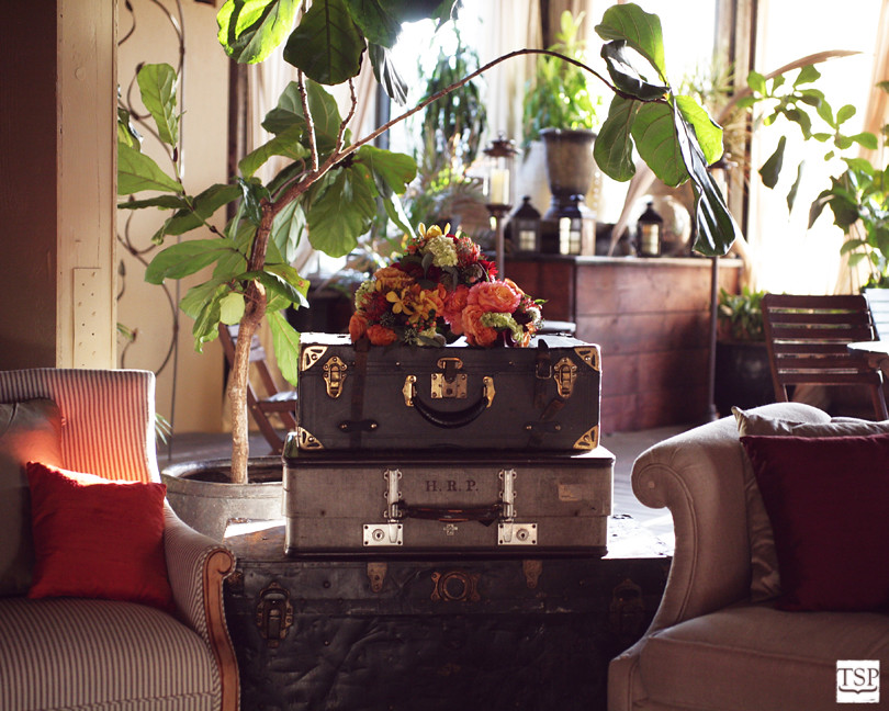 Luggage and Flowers for Steven Moore Decor