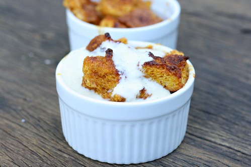 Dishing Up Delights: Pumpkin Bread Pudding with Bourbon Vanilla Sauce