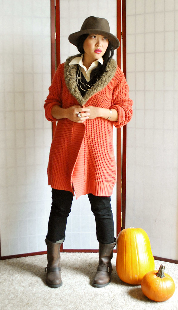 Fall Outfit - Coral Faux Fur Oversized Sweater Coat - Wide Brimmed Hat - Frye Engineer 8R Boots