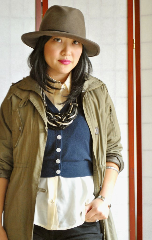 Fall Outfit - Military Green Coat - Wide Brimmed Hat - Navy Cropped Cardigan - Sheer Asymmetrical Top - Braided Rope Necklace