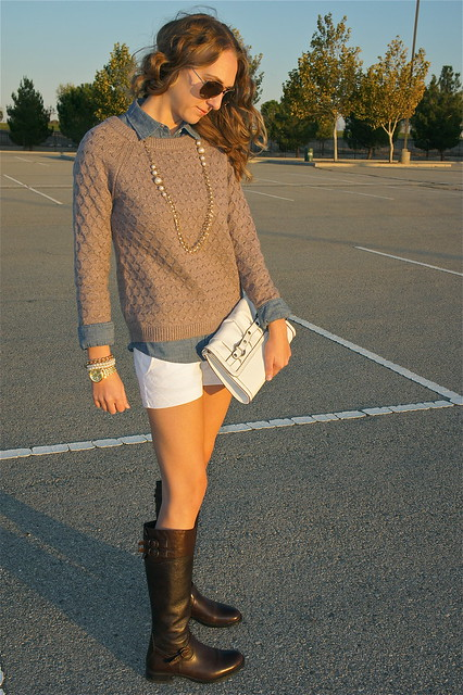 Old Navy heather brown chunky knit sweater