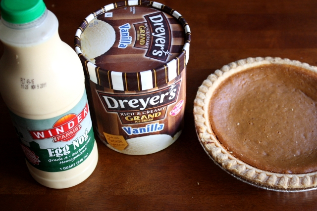 Egg nog, ice cream, and pie