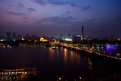 Nile nightscape (Marianne Lea) Tags: river cityscape nightscape traffic egypt nile cairo operahouse octoberbridge
