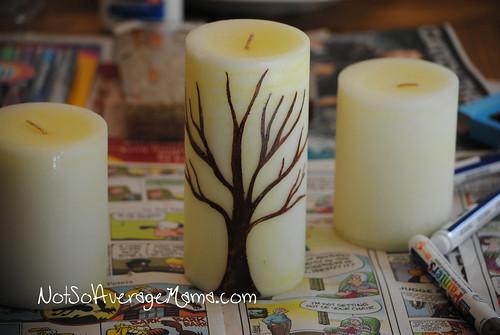 Painting Candles #GlueNGlitter