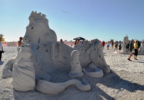 """Nightmares"" by Master Sandculptors Karen Fralich and Dan Belch Won 2011's Siesta Key Crystal Classic Master Sandsculpting Championships, Sarasota, Fla., Nov. 13, 2011"