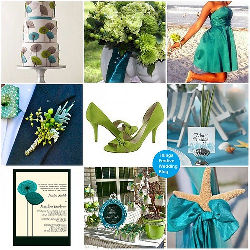 teal and apple green wedding theme
