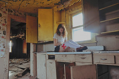(yyellowbird) Tags: house selfportrait abandoned kitchen girl yellow socks illinois lolita cari bows