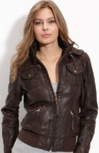 MICHAEL Michael Kors Women's Leather Bomber Jacket