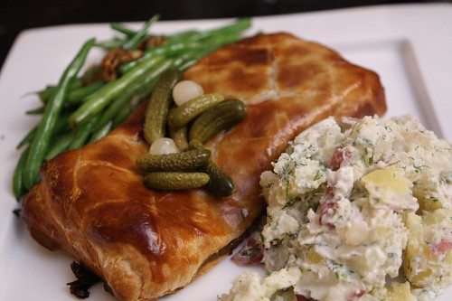 Gravlax en Croute with Garlic Green Beans and Sour Cream Dill Potatoes
