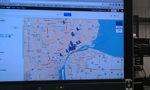 Locations of Christina's initial meeting participants in Detroit, institute for Higher Awesome