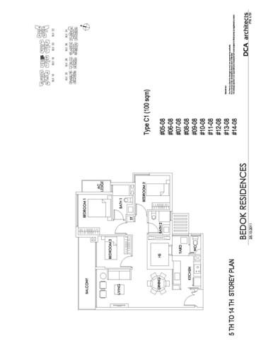 Bedok Residence 3BR Floorplan