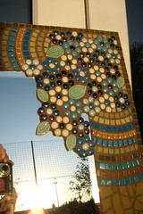 Stained glass and glass tile mosaic mirror (fiona parkes) Tags: flower glass glitter ceramic mirror leaf mosaic circles stainedglass tiles iridescent glassbeads vitreous mosaictile ceramictiles glasstiles mosaicmirror glittertiles