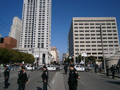 SFPD officers block traffice during a protest (Eric Broder Van Dyke) Tags: sf sanfrancisco fall during protest block traffice sfpd officers 2011