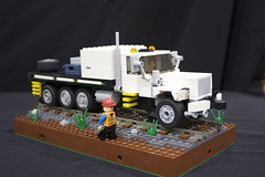 Western Star Brandt Power Unit (Ricecracker.) Tags: railroad train truck way star power lego maintenance mow western brandt unit moc hirail foitsop