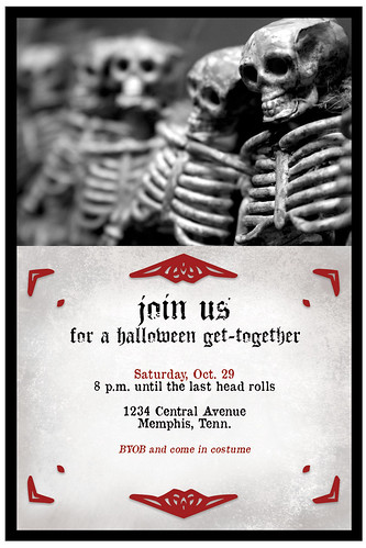 4x6 Skeleton customizable Halloween party invitation