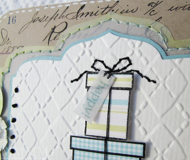 stitched bow & printed embossed vellum tag