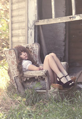 (yyellowbird) Tags: house selfportrait abandoned girl wisconsin chair shoes platform velvet lolita cari