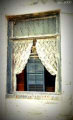 Behind The Window (pam's pics-) Tags: camera usa abandoned film window america us midwest lace curtain 1999 mo used missouri pam frame shutter what smalltown clue filmscan westonmissouri i pamspics morrisno