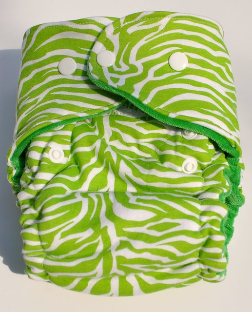 One size Original Bum Fitted Lime Zebra Cotton Velour
