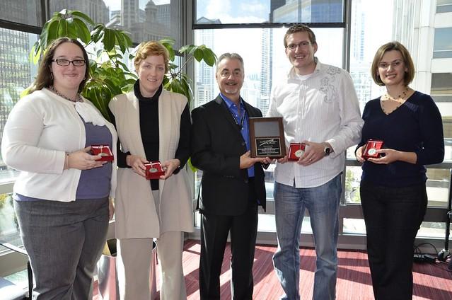 Stephanie Richter, Caroline Conlon, Ken Sakowski presenting award, Jason Rhode, Olga Urban