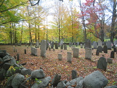Cemetery in Center of Salisbury, NH (catchesthelight) Tags: blue trees red orange white color green fall cemetery leaves yellow fence maple scenery colorful moments newengland nh fallfoliage foliage stonewall birch maples gravestones momentos picket leafpeeping itsmulticolored centralnewhampshire fallfoliagephotography