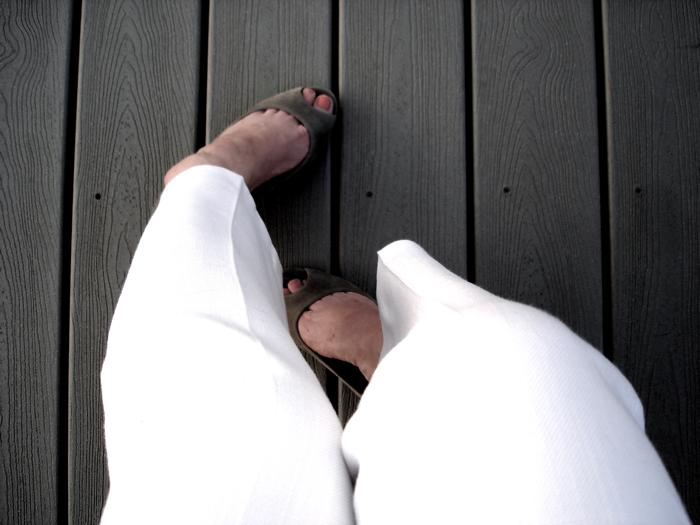 white pants grey shoes