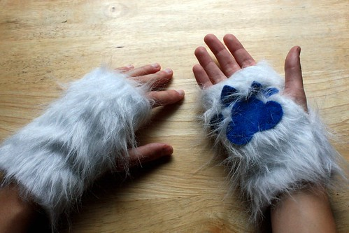 Furry Halloween Fingerless Mitts