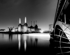 Battersea (vulture labs) Tags: city bridge light bw white black reflection london art station night photography boat photo stream long exposure cityscape foto photographer power fine trails photograph le battersea hdr batterseapowerstation londonnight bwlondon