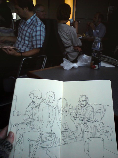 sketching on the ferry