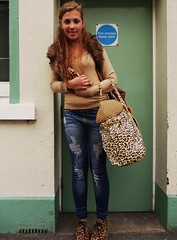 Animal Print Accessories (teaselbrush) Tags: street uk portrait england animal bag print fur skinny photography sussex coast town seaside shoes fake style east jeans coastal leopard british accessories collar distressed handbag tote seaford wedge leopardskin skintight clucth