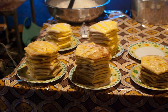Kyet Oo Mon (egg snack), Thadingyut market and festival, Yangon, Myanmar