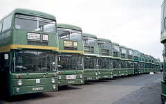 AN line-up at Grays Garage (Auction) 25 June 1988 (national_bus_510) Tags: nbc parkroyal nationalbuscompany leylandatlantean londoncountrybusservices lcbs pdr1a1special