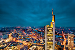Golden City (ill-padrino www.matthiashaker.com) Tags: from above blue tower skyscraper germany am europe european hessen nightshot frankfurt main central bank commercial hour highrise messe financial commerzbank ecb sparkasse wolkenkratzer messeturm mainhattan maintower banken ezb gettygermanyq4
