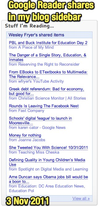 Google Reader shares in my blog sidebar