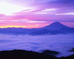 Mount Fuji (Artemis D'Angelo) Tags: mountains weather japan fog photography landscapes asia colorphotography nobody pacificocean mountfuji volcanoes landforms naturalworld eastasia honshu asiacontinent westpacificocean northpacificocean sunrisesandsunsets stratovolcanoes volcanicfeatures hillsandmountains japanarchipelago chuburegion yamanashiprefecture