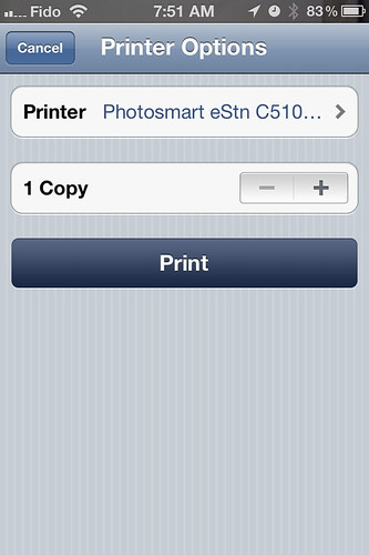 Print from iPhone to HP Photosmart eStation