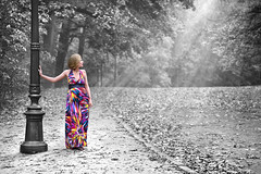 The Rainbow after the Rain (Ben Heine) Tags: park wood autumn trees light brussels woman lake art fall love colors girl beauty leaves forest season flow photography stand moving rainbow model colorful flickr pretty poem glow dress photoshoot belgium path robe couleurs touch poetic grace nostalgia arbres lamppost blond shade marta dre