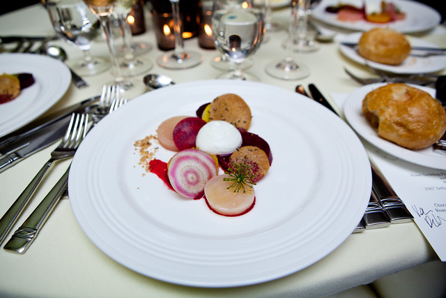 Beet salad with chèvre frais and caraway by Chef Daniel Humm of Eleven Madison Park