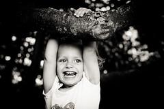 Child (Tomas Pivovarnik) Tags: park autumn bw tree nature monochrome smile kid branch republic child seasons czech joy hang nad republika esk klterec oh
