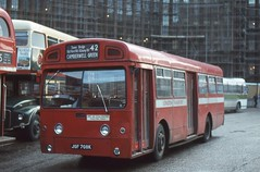 London Transport . SMS708 JGF708K . Minories Bus & Coach Station, Aldgate , London . 04th-January-1980 . (AndrewHA's) Tags: bus swift aldgate londontransport mcw aec camberwellgreen route42 metcamm sms708 jgf708k