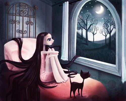La mujer, el gato y la luna