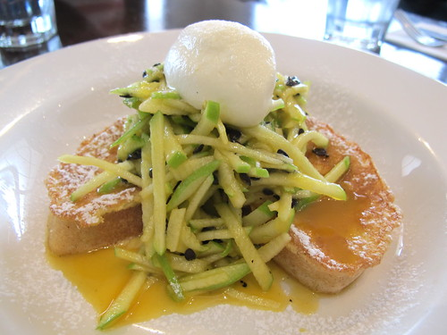 French toast, shaved apple and passion fruit salad
