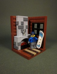 Snowboarder's Cabin (Walter Benson) Tags: winter snow cold stone fire wooden cozy log cabin fireplace warm lego snowy interior small rustic scene logcabin rug collectible coal snowboarder vignette brimstone wintery minifigures series5 smallscene eurobricks collectibleminifigure eurobrickscollectableminifigurecontest