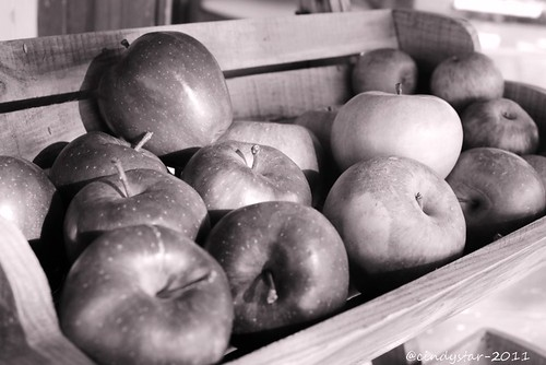 apples on  wooden shelf