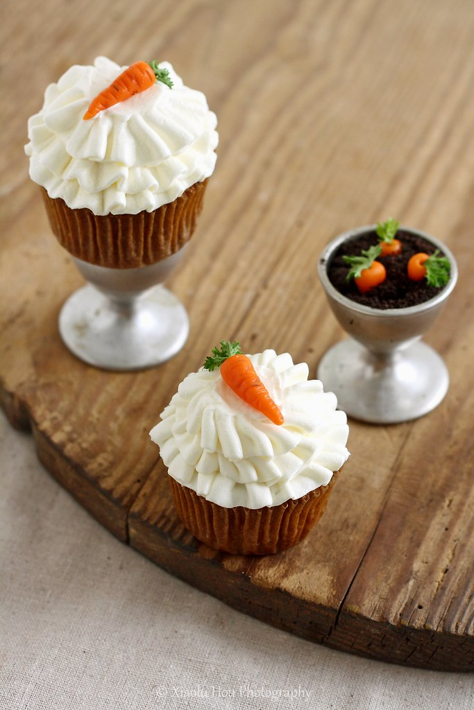 Carrot Cupcakes with Marzipan-Parsley Carrot Toppers