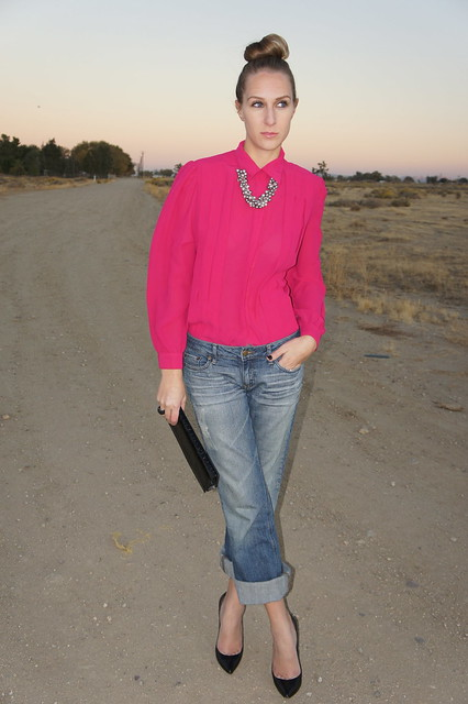 Boyfriend jeans with bright blouse